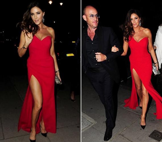 40. születésnapi bulijára egy szuperszexi vörös ruhában érkezett.