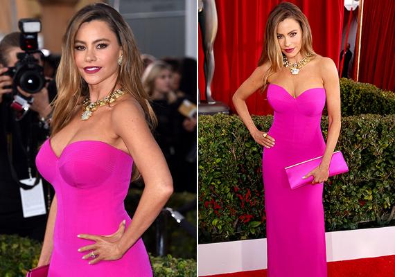 Sofia Vergara az idei SAG-gálára választott egy élénk, pink színű ruhát, aminek ugyan mindenki a csodájára járt, de a híresség állítása szerint majdnem rosszul lett, annyira szorította.