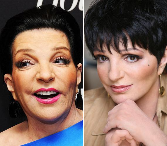 Liza Minnelli arca sima volt és telt, szemöldökei megemelkedtek. Fekete, festett haját hátrafésülte, és égszínkék selyem felsője is hangsúlyozta az arcán történt változásokat.