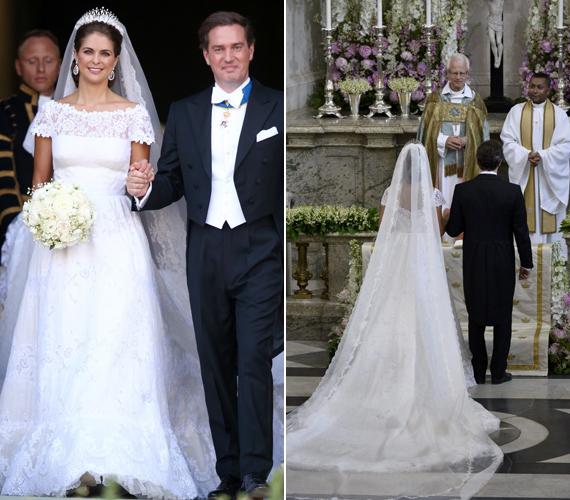 A hercegnő ruháját Valentino tervezte selyem organzából, melyet kézi hímzés díszít. A fátyol hat méter hosszú.