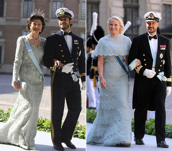 Balra a svéd királynő, Silvia fia oldalán. Jobbra Mette-Marit, a norvég koronahercegnő.