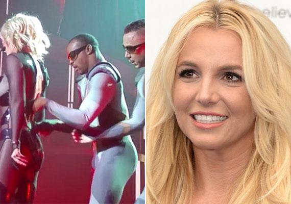 Britney Spears koncertjein általában a ruhaméretet szokta eltéveszteni, így esett meg, hogy a legutóbbi fellépésén egyszerűen szétszakadt rajta a ruha, amit a táncosai próbáltak meg összetartani.