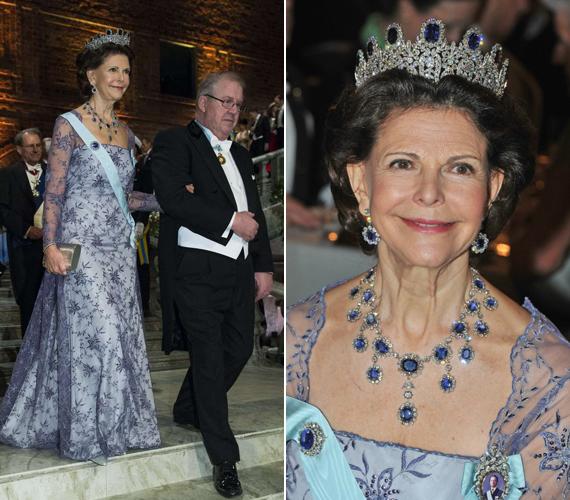 Szilvia királyné egy csodaszép, csipkével díszített kreációban jelent meg.