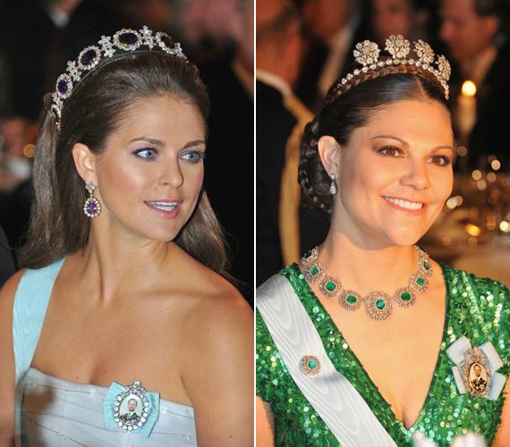 Svédország két büszkesége, Magdolna és Viktória szebben ragyogott, mint az általuk viselt ékszerek.