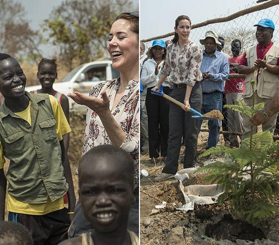 Élvezettel beszélgetett a menekülttáborban élő gyerekekkel, és attól sem riadt vissza, hogy részt vegyen a mindennapi helyreállítási munkálatokban.