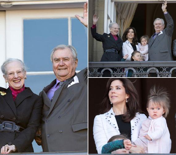 II. Margit, aki 1972. január 14. óta Dánia királynője, boldogan integetett férjével, Labordé de Monpezattal a sógornője, a fia és unokái oldalán.