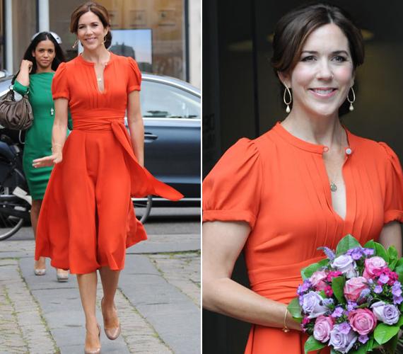 A hercegné nem először viselt feltűnő ruhát, a dán szépművészeti múzeum egyik díjátadójára is narancs színűt választott.