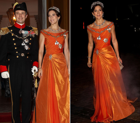Az újévi estélyre egy feltűnő, élénk narancssárga ruhát választott.