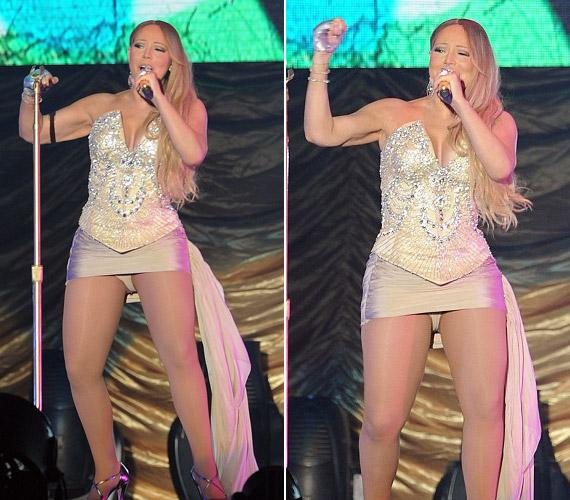 Mariah Carey az utóbbi időben újra hízásnak indult, bár egyelőre csak combjain látszik az az egy-két plusz kiló.