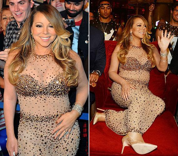 Mariah Carey-t láttuk már sokkal csinosabbnak is, teltkarcsú alkatához egyáltalán nem illett ez a ruha. Az énekesnő egyébként azért ment Vegasba, hogy látványos keretek között bejelentse, május 6-tól július végéig állandó fellépő lesz a Colosseum kaszinó koncerttermében, ahol korábban olyan sztárok szórakoztatták a vendégeket, mint Céline Dion vagy Elton John.