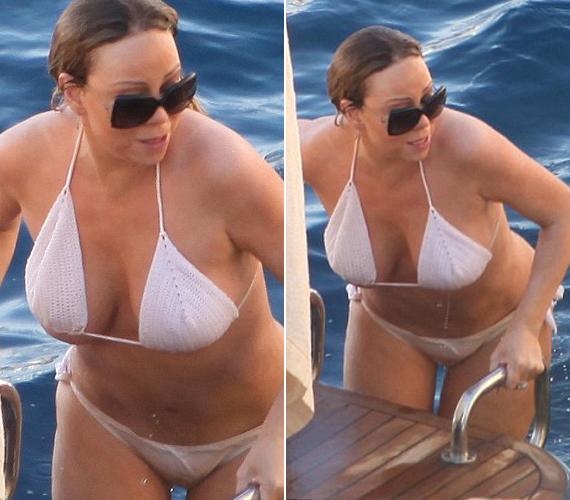 A fehér, horgolt bikiniből majdnem kiesett a jobb melle. A képeken látszik, hogy sokat fogyott a szülés óta, bár azt az alakot, amivel híressé vált, már biztos nem érheti el természetes úton.
