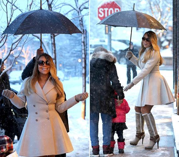 Mariah Carey a tűsarkú csizmában inkább kockáztatta az elcsúszást, az elegáns kabátban pedig a megfázást, csak hogy előnyös képet készíthessenek ról aa fotósok.