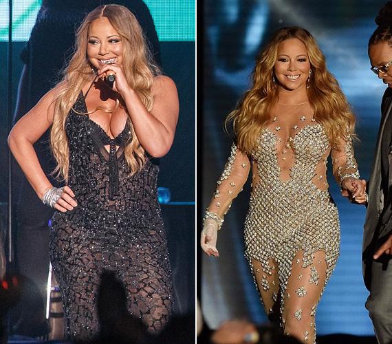 Átlátszó: még egy átlátszó ruha is lehet sejtelmesen szexi, de ebben sem nagyon ismeri Mariah Carey a mértéket, még a melltartója is kilógott a fekete ruhából, amit 2014-es Sydney-béli fellépésén viselt. A csillogó kövekkel kirakott ruha sem volt sokkal ízlésesebb.