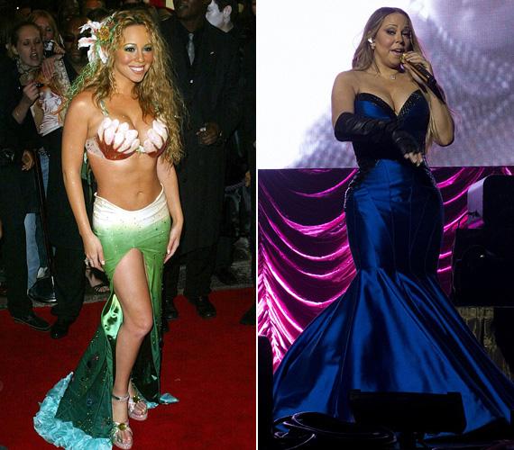 Sellő fazon: bár Mariah Carey előszeretettel viseli, a sellős ruha sem konkrét, sem átvitt értelemben nem való apró, telt termetéhez. A 2006-os partifotó is meglehetősen ciki, és a 2014-es ausztrál fellépésén rajta lévő szaténruha is.
