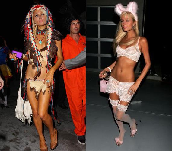 Fel sem tudnánk sorolni, hányféle jelmezbe bújt már Paris Hilton. Itt van kettő közülük: indián és szexis nyuszilány.