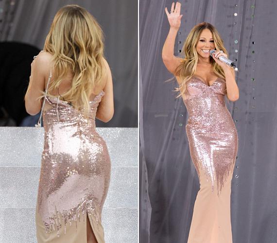 Mariah Carey-n a Good Morning America reggeli adásában repedt ketté a ruha.