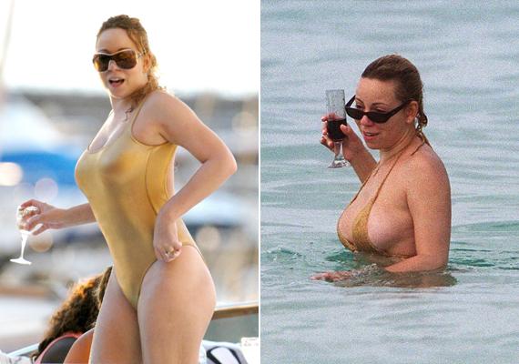 Imádja az aranyszínű fürdőruhákat, de ha bikiniben kell ugyanezt a színt kiválasztania, abból csak a baj van. A bal oldali fotón szinte semmi nem takarja oldalt a mellét.