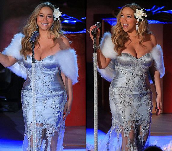 Akár a Hókirálynő! Ebben az ezüstösen csillogó, prémes kiegészítővel ellátott darabban is ámulatba ejtette a közönségét.