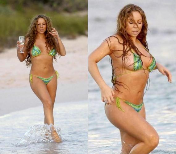 Ezt a zöld flitteres bikinit Hawaiion viselte.