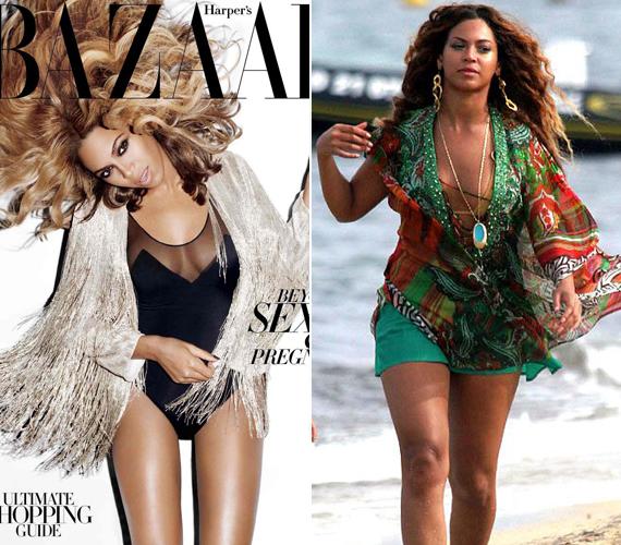 Beyoncéról már sokszor lehetett hallani, hogy nem kimondottan elégedett combjaival, amit a bal oldali címlapfotó is igazolni látszik. Ezen annyival vékonyabb az énekesnő lába, hogy az szinte már hihetetlen.
