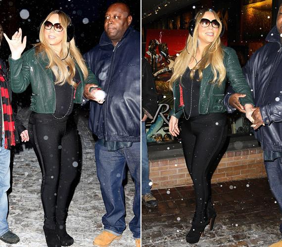 Mariah Carey-t senki sem figyelmeztette, hogy a platformcipő nem éppen a legideálisabb választás a csúszós, havas aspeni utcákra.