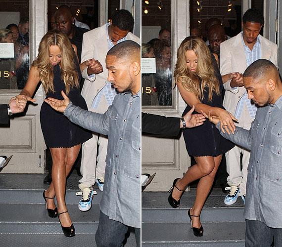Gyűlt már meg a baja korábban is a magas sarkú cipőkkel: egy New York-i étteremből kijövet három férfinak kellett támogatni, nehogy leessen a lépcsőről.