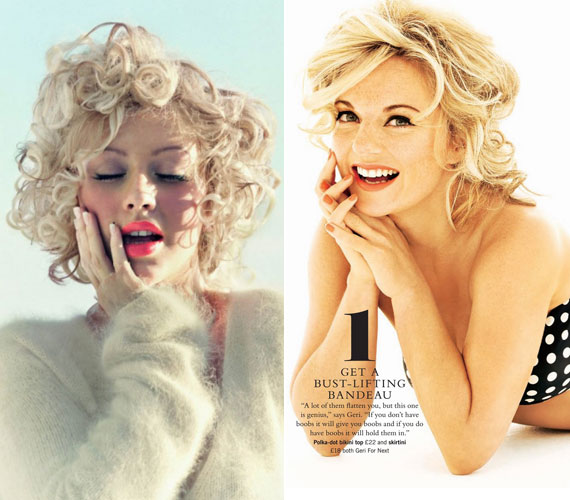 Christina Aguilera és Geri Halliwell énekesnők, mint Marilyn.