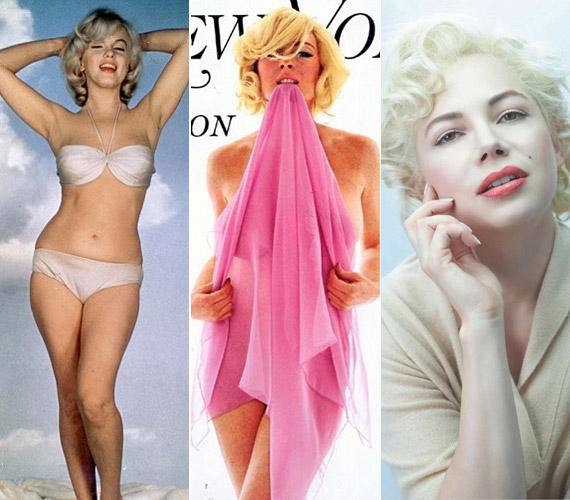 Számos híresség bújt már Marilyn bőrébe, többek közt Lindsay Lohan, vagy legutóbb a jobb oldali fotón látható Michelle Williams az Egy hét Marilynnel című filmben.