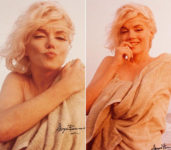 """Marilyn Monroe-tól sosem állt távol a meztelenkedés, ezen a két képen pusztán egy törülközőt visel, és így flörtöl a kamerával. """"'Ezt most csak neked, George', mondta, és egy csókot dobott felém. Ez volt ténylegesen a legutolsó kép, amit készítettem róla"""" - emlékezett vissza a fotós arra a napra egy 2012-es interjúban."""