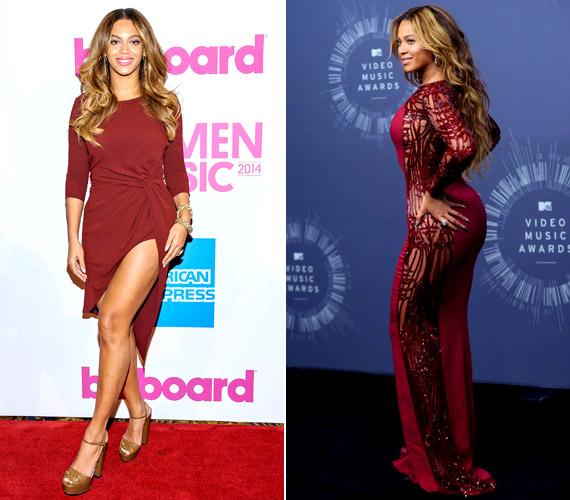 Hiába, Beyoncé érzi a divatot! Már a 2014 év végén megrendezett Billboard Women in Music nevű zenei eseményen is egy combtőig felsliccelt, marsala színű Haute Hippi ruhában jelent meg. És hogy a 2015-ös év divatszíne mennyire bejön neki, jól mutatja, hogy a Video Music Awardson is ezt választotta - ezúttal egy strasszokkal kirakott, oldalt áttetsző megoldással.