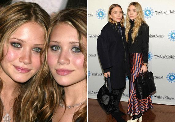 Az Olsen-ikrek karrierje 9 hónapos korukban kezdődött, gyerekként pedig olyannyira hasonlítottak egymásra, hogy gyakran a való életben is egymás bőrébe bújtak. Úgy tűnik, közel a 30-hoz ez megváltozott, amikor Mary-Kate (a jobb oldali fotón balra) kés alá feküdt és arca teljesen megváltozott.
