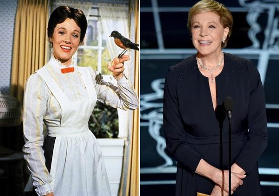 A 80 éves Julie Andrews a varázsdada szerepével robbant be a köztudatba, amiért még az Oscar-díjat is megkapta. Ezután egyenes út vezetett A muzsika hangja Mariájának szerepéhez, a Victor/Victoriához, amiben a férfi és a női karaktert is ő játszotta. Sajnos csodálatos hangját egy betegség és az azt követő műtét következtében majdnem teljes egészében elveszítette, de a Neveltlen hercegnő második részében például néhány könnyed dallamot elénekel filmbeli unokája kedvéért. Legutóbb szinkronszerepekben hallhattuk a hangját, ő volt a Shrek széria Jótündére és Gru édesanyja is.