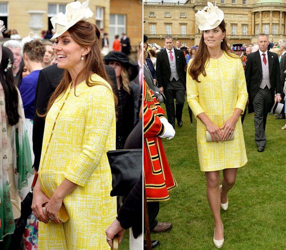 Kate Middleton hét hónapos terhesen májusban a királynő teadélutánján ebben a halvány kanárisárga Emilia Wickstead kabátban jelent meg - a darab inkább a konzervatív vonalat képviselte.
