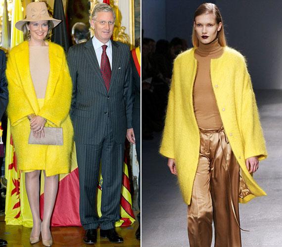 Matilde királyné abban az élénksárga teveszőr kabátban vett részt Liege-ben a hivatalos eseményen, amelyet Veronique Branquinho az 2013-as őszi kollekciójának egyik elemeként mutatott be New Yorkban.