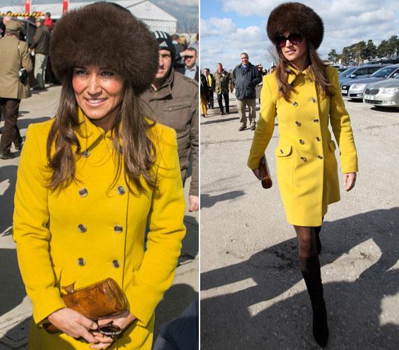 Katalin húga, Pippa Middleton március közepén a Cheltenham lovas futamra egy figyelemfelkeltőbb kreációt választott: az élénksárga Katherine Hooker kabát a barna kucsmával együtt vonzotta a tekinteteket.