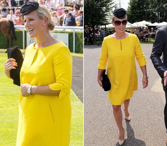 Erzsébet királynő kedvenc lányunokája, Zara Phillips várandósan szintén az élénksárga színt részesítette előnyben, amikor megjelent augusztus elején a Ladies' Day Goodwood futamon.