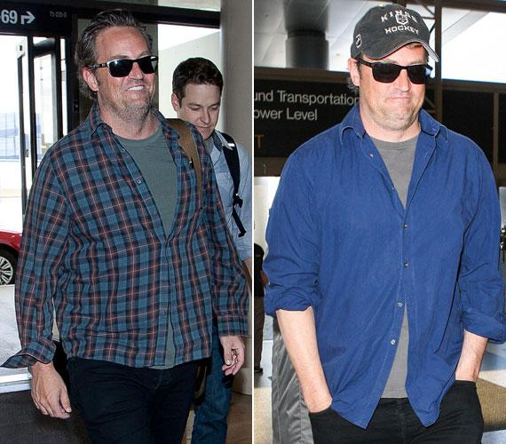 A róla készült legfrissebb fotó alapján Matthew Perry plusz kilói egyre csak gyarapodnak. Minkét felvétel a Los Angeles-i reptéren készült: a kockás inges egy héttel ezelőtt, a kék inges fotó június 27-én.