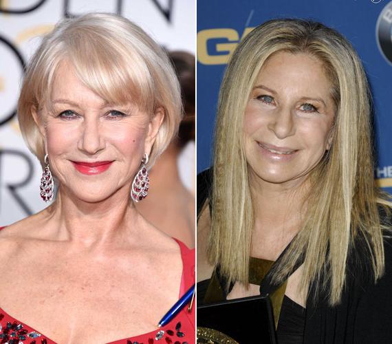 Helen Mirren 70 éves, Barbra Streisand pedig 73. Az énekes-színésznő arcáról készült fotó kimondottan ijesztő, ahogy a furcsa csillogás is a bőrén. Ezzel szemben Helen ragyog, és büszkén viseli ráncait.
