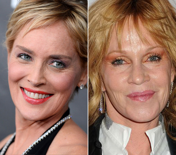 Sharon Stone és Melanie Griffith egykorúak, 57 évesek. Ennek dacára Sharon jóval fiatalabbnak tűnik, még azzal együtt is, hogy van néhány ránc az arcán.