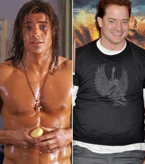 Brendan Fraser                         Az őserdő hőse című filmben még kidolgozott testű Adonis volt, ám utána már inkább hagyta elpuhulni izmait.                         Kapcsolódó cikk:                         Botrányosan elhízott az egykor sármos szívtipró! Nem fogsz ráismerni
