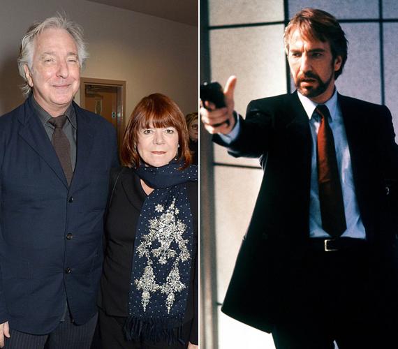 A 69 éves Alan Rickmant és feleségét, akit 50 év után titokban vett el, még áprilisban fotózták együtt. A jobb oldalon a színész Hans Gruber szerepében látható az 1988-as Drágán add az életed! című filmben, amelyben Bruce Willis ellenségét alakította.