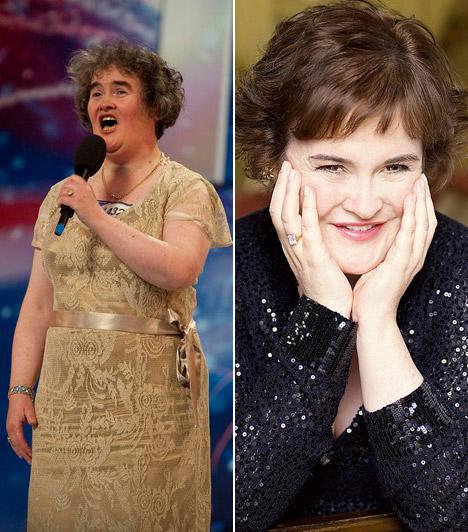 Susan Boyle                         A csúnyácska Susan Boyle-ból igazi dívát varázsoltak a stylistok. A gyönyörű hangú énekesnő számára a 2008-as Britain's Got Talent hozta meg a világhírnevet.