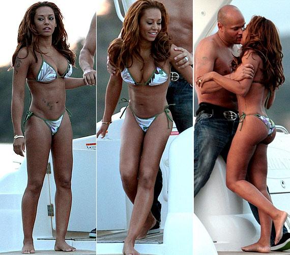 Apró, mintás bikinije jól mutatott barna bőrén, azonban teste sokak szemében már túlzottan is kisportolt.
