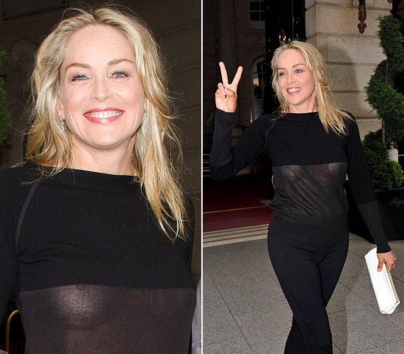 Sharon Stone még 50 felett is fontosnak tartja, hogy közszemlére tegye bájait - ezzel a Párizsban viselt szettel sokaknál kiverte a biztosítékot.