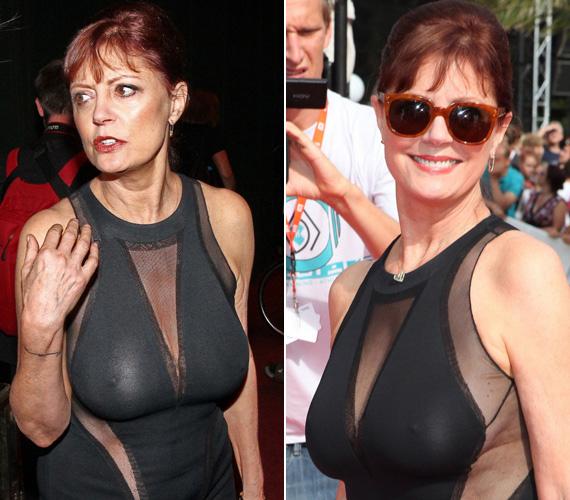 Susan Sarandon sem szégyenlős típus. Kissé túllőtt a célon, amikor átlátszó, testhez simuló ruhája alá nem vett fel melltartót.