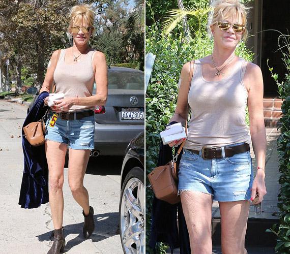 Melanie Griffith ismét fiatalos ruhákat vesz fel, most rövidnadrágban mutatta meg hosszú lábait.