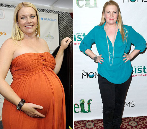 A bal oldali kép 2012 augusztusában készült, egy hónappal később megszületett harmadik fia, Tucker. A jobb oldali felvételen - tavaly novemberben - már jó pár kilóval könnyebben pózol a fotósoknak.