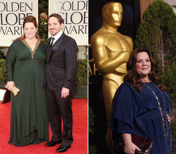 2012-re már egy nagyon elhízott, ámde csinosan öltözött nő lett Melissa McCarthy. Férje, Ben Falcone büszke Golden Globe- és Oscar-jelölt feleségére.
