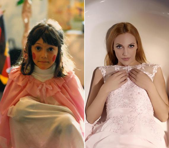 A bal oldalon látható kép valószínűleg egy farsangon készült a kissé megszeppent, nyolc-kilenc év körüli Meryemről. A jobb oldali pedig idén, egy divatfotózáson.