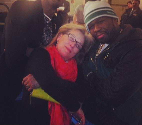 Rapperként pózol 50 Centtel az Oscar-díjas színésznő.